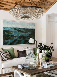 Layers of textures and neutral colors inspired by the beautiful landscape outside help make the inviting living room the ideal spot for relaxing and entertaining. >> http://www.hgtv.com/design/hgtv-dream-home/2017/living-room-pictures-from-hgtv-dream-home-2017-pictures?soc=pinterest