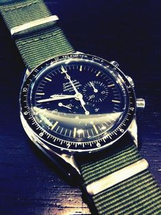 Omega Speedmaster 861 with olive green canvas straps