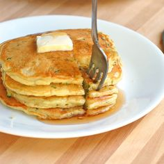 Sweet Zucchini Pancakes: 1/2 cup all purpose flour 3 tablespoon sugar 1 teaspoon baking powder 1/4 teaspoon baking soda 1/4 teaspoon salt 1 egg 1/2 cup greek yogurt (I used nonfat) 2 tablespoons melted butter 1/4 cup water or milk (OPTIONAL) 1 zucchini, grated