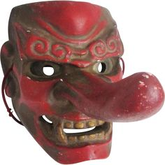 Japanese Vintage Konoha Yamabushi Tengu 天狗 Mask of of Mountain and Forrest goblins, new in from Japan at the many faces of Japan on Ruby Lane. so cool!