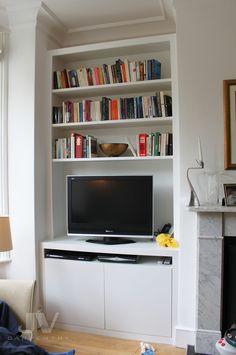 23 Alcove Shelving Ideas for your Living room | JV Carpentry Alcove Tv Unit, Alcove Bookshelves, Tv Bookcase, Alcove Storage, Alcove Shelving, Shelving Ideas, Shelving Units, Book Storage, Tv Units