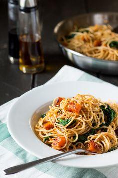 Pumpkin Spinach and Walnut Spaghetti