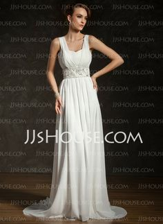 Wedding Dresses - $146.99 - A-Line/Princess V-neck Court Train Chiffon Wedding Dress With Ruffle Beadwork Sequins (002011404) http://jjshouse.com/A-Line-Princess-V-Neck-Court-Train-Chiffon-Wedding-Dress-With-Ruffle-Beadwork-Sequins-002011404-g11404