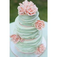 25 Mint Wedding Cakes You'll Love! - Mon Cheri Bridals ❤ liked on Polyvore featuring wedding