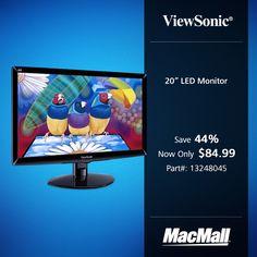 "Save 44% on a 20"" ViewSonic LED monitor at MacMall."