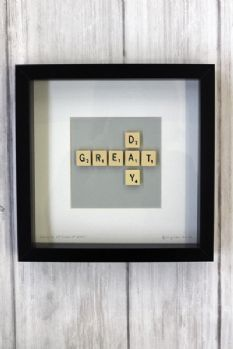 scrabble art in a shadow box - entry way? Something about welcome or home...