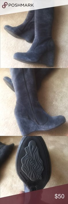 Blue Suede Boots Like new blue suede wedge heel boots. Shoes Heeled Boots