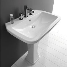 "WS Bath Collections Nova-75C Ceramica Valdama Nova 29-1/2"" Bathroom Ceramic Pedestal Sink with Faucet Holes and Overflow in White"