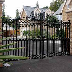 "Richmond Driveway Gate - Heritage Cast Iron USA designed for a 12' driveway. 7'3"" tall at the center. Solid Cast Iron, will last 100+ years.  In Stock and on sale!"