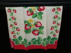 Vintage Strawberry Dish Towels