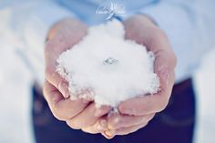 Winter Wedding or Engagement. Love the snow cupped in the hands. White on white. Stunning. www.truthaboutdiamonds.com