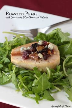 Try these roasted pears with cranberries, blue cheese and walnuts for a great small side salad that is unique and delicious.