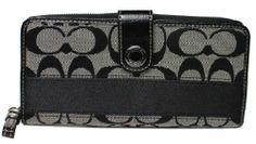 Coach 47718 Black Signature Stripe Accordian Zip Top Wallet Nwt
