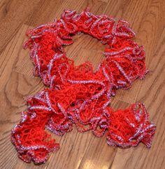 red sparkle ruffle sashay crochet scarf