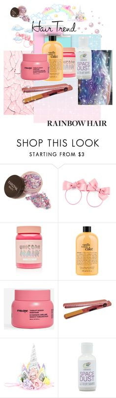 """""""Unicorn hair! 🦄🌙✨"""" by lornatilch ❤ liked on Polyvore featuring beauty, H&M, Lime Crime, philosophy, Eva NYC, CHI and Forever 21"""