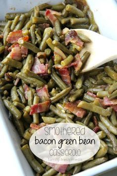 Smothered Bacon Green Bean Casserole Are you bored of serving the same old green bean casserole? My Smothered Bacon Green Bean Casserole is a simple way to jazz up the holiday dinner table. Bean Recipes, Side Dish Recipes, Vegetable Recipes, Green Bean Casserole Bacon, Family Fresh Meals, Holiday Dinner, Vegetable Side Dishes, Thanksgiving Recipes, Food Dishes