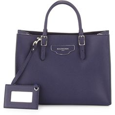 Balenciaga Papier Small Zip-Around Tote Bag (2 828 080 LBP) ❤ liked on Polyvore featuring bags, handbags, tote bags, blue, blue leather purse, leather tote, leather handbags, zippered tote bag and leather purse