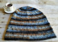 Blue Brown Stripe Slouch  Crochet Slouchy Beanie by YarnOverDesign
