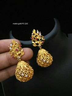 To buy please WhatsApp on 9703870603 Gold Jhumka Earrings, Indian Jewelry Earrings, Gold Bridal Earrings, Jewelry Design Earrings, Gold Earrings Designs, Small Earrings, Jewellery, Gold Jewelry Simple, Gold Rings Jewelry