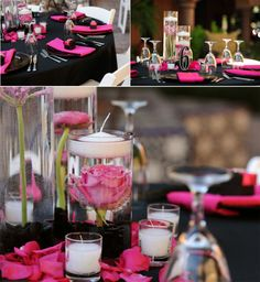 Pink and black wedding.... I like it for a bachelorette party