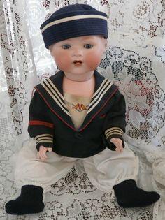 "$$ Reduced LIFE SIZE Antique 26"" Armand Marseille 351 Bent Limb Baby Sailor"