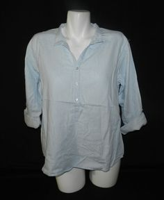 NWT Bandolino Jordan Vapor Wash Blue 3 Button Womens Top Blouse Shirt Size XL T3 #Bandolino #Blouse #Casual