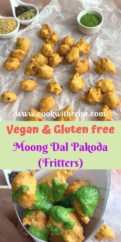 Moong Dal Pakoda is a vegan and a gluten free snack, made using yellow split moong dal and a few ingredients available at home, best served along with tea. Beef Appetizers, Healthy Appetizers, Appetizers For Party, Appetizer Recipes, Snack Recipes, North Indian Recipes, Indian Food Recipes, Vegan Recipes Easy, Vegetarian Recipes