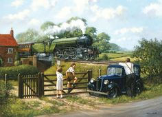 """""""Passing By"""" Featuring LNER steam locomotive & 1935 Austin Ruby Artist: Kevin Walsh Train Posters, Railway Posters, Art Posters, Norman Rockwell, Flying Scotsman, Steam Railway, Train Art, British Rail, Manx"""