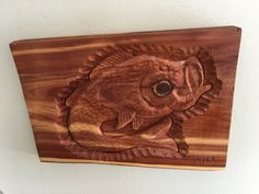 Fish Wood Carving, Cedar Wood Carving, by MaggieBleus on Etsy