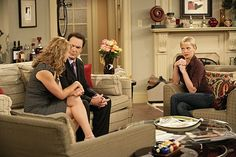 Jaime Pressly, Megyn Price, and Patrick Warburton in Rules of Engagement Megyn Price, Patrick Warburton, Rules Of Engagement, Picture Photo, Tv Series, Couple Photos, Pictures, Set Design, Dark Wood