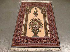 Persian Pray Quom Carpet | 2'9'' X 4'0'' Fine Persian Quom Rug | SIL1705   #Persianrug #PersianCarpet #persianrugsinfo #ruglovers