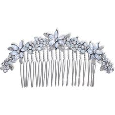 INC Silver-Tone Stone & Crystal Flower Hair Comb, Created for Macy's ($23) ❤ liked on Polyvore featuring accessories, hair accessories, silver, flower hair accessories, crystal hair comb, hair comb accessories, hair combs and flower hair comb