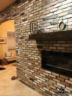 A beautiful electric fireplace design. #mortonstones #brick #tiles #rustic #thinbrick #home #decor #redbrick #brickveneer #interior #wall #homeimproment #renovation #project #interiordesign #fireplace #ideas #installation #livingroom #electricfireplace