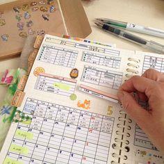 greenmint…手帳と家計簿さんはInstagramを利用しています:「いつもの家計簿…めくると。 (1枚目の写真) * 左側は14日になるまでは、まだ白紙。 (2枚目の写真) * カンミ堂さんから発売されている、ペントネと。 新しく仲間入りした、ココフセン。 これらを使ってね。 (3枚目の写真) *…」 Financial Planner, Hobonichi, Household, Notebook, Bullet Journal, Motivation, Books, Instagram, Planner Organization