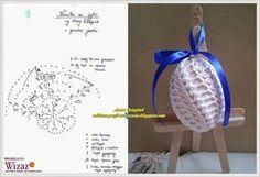 Oddana pasji tworzenia...: Wielkanocne jajeczka w rozmiarze XXL. Trzeba dodać raport i powtórzenia (w sumie 13) Crochet Potholders, Crochet Motif, Crochet Doilies, Hand Crochet, Crochet Christmas Ornaments, Holiday Crochet, Christmas Balls, Bunny Crafts, Easter Crafts