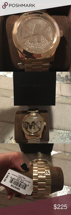 NWT MICHAEL KORS SWAROVSKI GOLD MK WATCH!! MK amazing Swarovski crystal face watch with great big face!! The style number is mk5706 and is one of the best style watches he's ever made!! Super hard to find as they didn't make many and in high demand when one pops up!!one of my most favorites I've ever sold! It's brand new with box tags and booklet included!! Michael Kors Accessories Watches