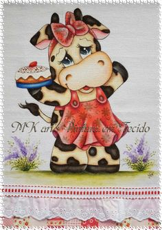MK art's Pintura em Tecido: VAQUINHA Cow Pictures, Pictures To Draw, Cow Painting, Fabric Painting, Tole Painting Patterns, Paper Napkins For Decoupage, Unique Drawings, Cow Art, Rock Painting Designs