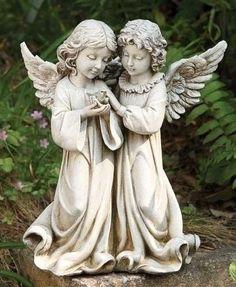Josephu0027s Studio Angels Holding A Blue Bird Outdoor Garden Statue
