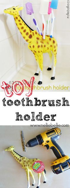Make a fun toothbrush holder with a plastic toy and drill. A great addition for a kid's bathroom!