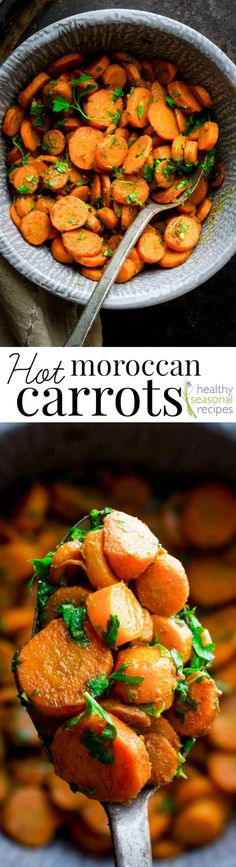 These Hot Moroccan Carrots are a new favorite side dish recipe for us. They are served hot, straight out of the skillet, and the carrots are flavored with olive oil, lemon, cumin and garlic with a spicy kick from harissa. You are going to love them!!