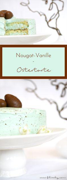 gesprenkelte Oster-Torte mit Vanille-Creme und Nougat #ostern #torte