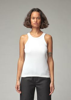 Classic rib-knit tank in stretch organic cotton with dropped armholes. Made in Portugal. Rib Knit, Organic Cotton, Portugal, Stitching, Tank Tops, Medium, Classic, Clothing, Products