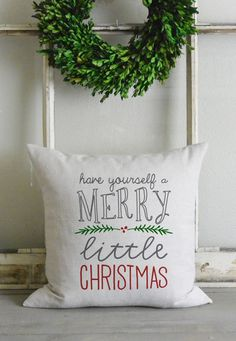 Merry Little Christmas 20 x 20 Pillow Cover_Christmas, holiday, winter, tree, home decor, cushion, throw pillow, gift, present.