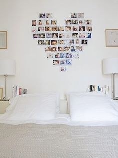 Cute collage idea for a headboard, just print and modge podge to some wooden or ceramic tiles, and attach to the wall.