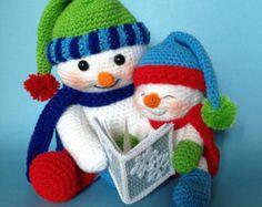 PDF au Crochet motif Mr et Mme WINTERS bonhommes de par bvoe668