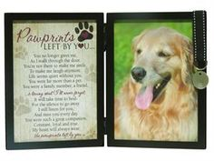 This pet loss frame says it all!  The poem Pawprints Left by You accompanies a favorite photo of a special pet and makes a perfect pet memorial or sympathy gift.  #PetSympathy