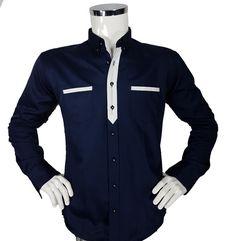 Koszula męska w kolorze granatowym - - Koszule męskie - Awii, Odzież męska, Ubrania męskie, Dla mężczyzn, Sklep internetowy Jackets, Fashion, Down Jackets, Moda, Fashion Styles, Fashion Illustrations, Jacket