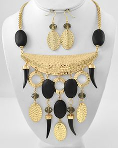 Gold Tone / Black Wood & Acrylic / Lead Compliant / Horn Charm Necklace & Fish Hook Earring Set