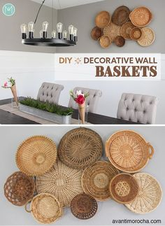 DIY Basket Wall My husband and I've worked in our dining room about a year ago, and while it looks l Boho Diy, Boho Decor, Diy Wall Decor, Diy Home Decor, Thrifty Decor, Wall Decorations, Kids Room Organization, Basket Decoration, Baskets On Wall