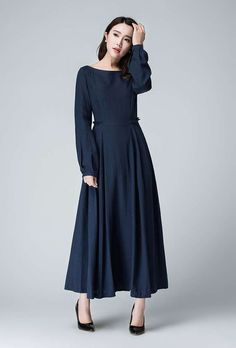 Dark Blue Linen Maxi Dress Prom Dress Spring Dress by xiaolizi